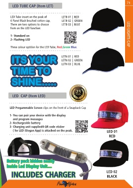 653ba377 71 LED TUBE CAP (Item LET) LED Tube insert on the peak of LETB 01 | RED 6  Panel Black brushed cotton cap, LETB 02 | GREEN There are two options to ...