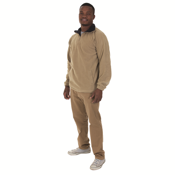 TWO TONE QUARTER ZIP POLAR FLEECE SWEATER